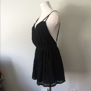 Size L sexy little black lace rompers